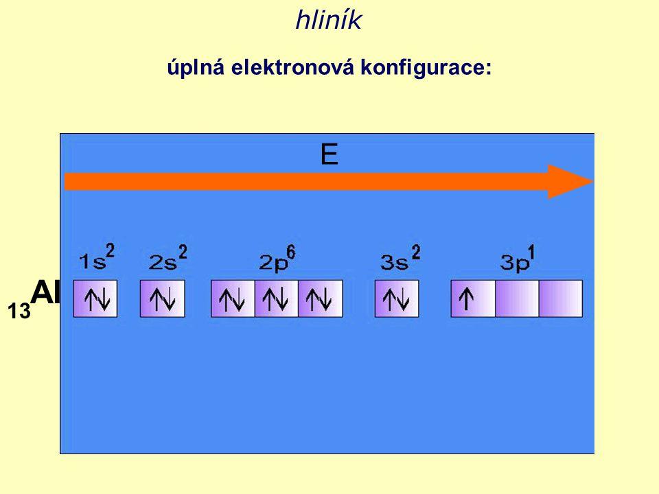 hliník úplná elektronová konfigurace: E Al 13