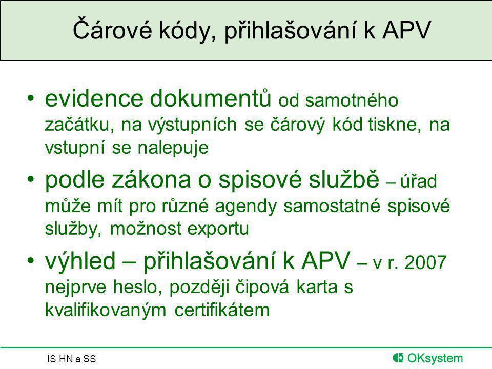 Čárové kódy, přihlašování k APV