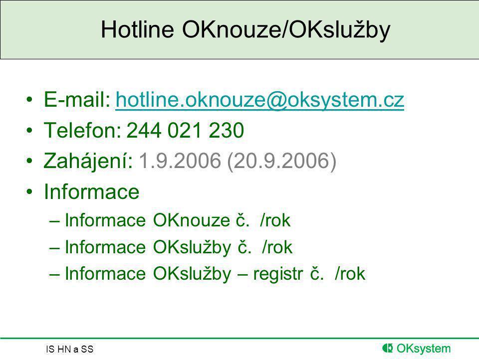 Hotline OKnouze/OKslužby