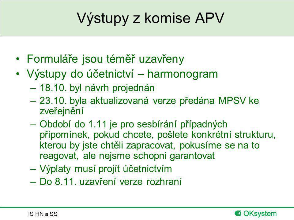 Výstupy z komise APV Formuláře jsou téměř uzavřeny