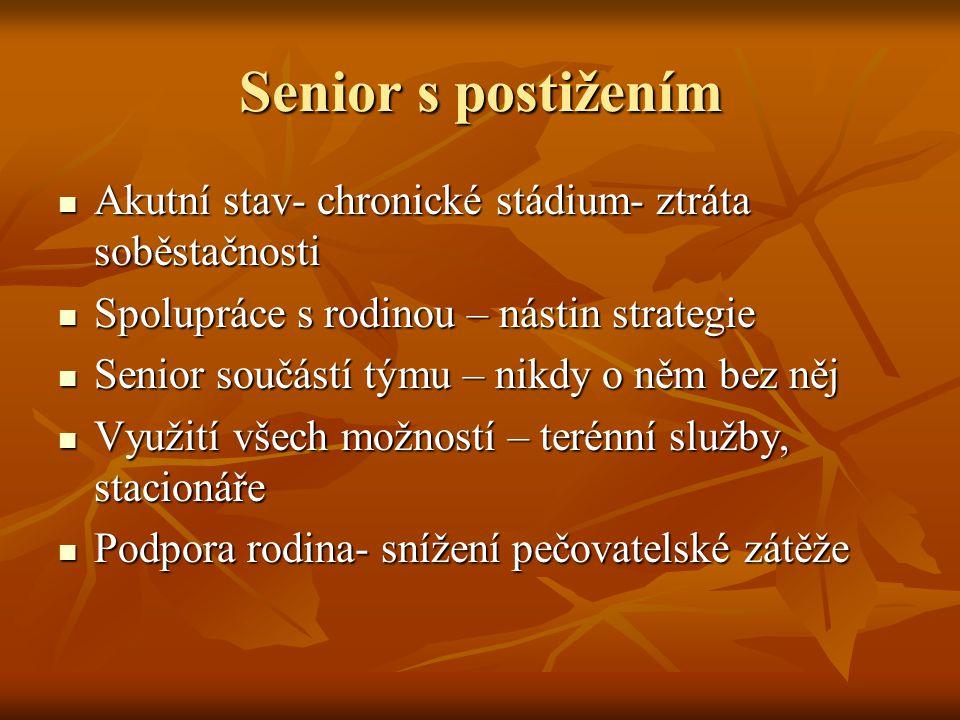 Senior s postižením Akutní stav- chronické stádium- ztráta soběstačnosti. Spolupráce s rodinou – nástin strategie.