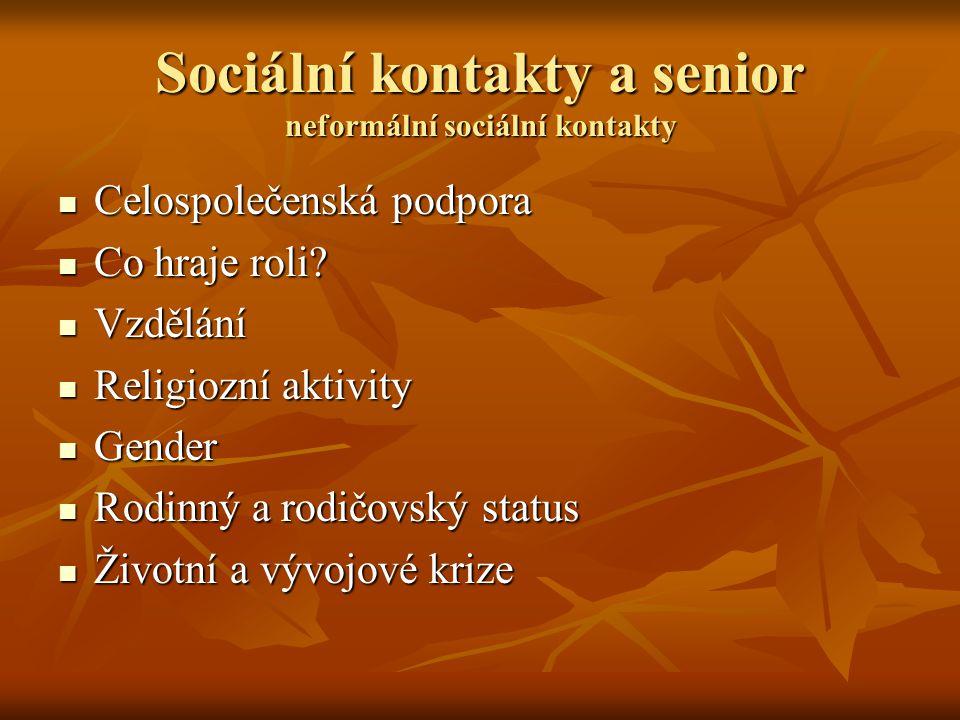 Sociální kontakty a senior neformální sociální kontakty