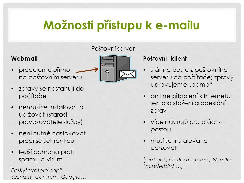 Možnosti přístupu k e-mailu