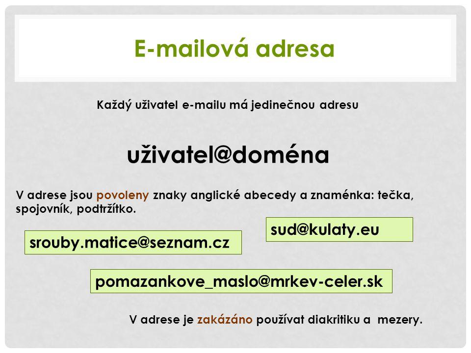 Každý uživatel e-mailu má jedinečnou adresu