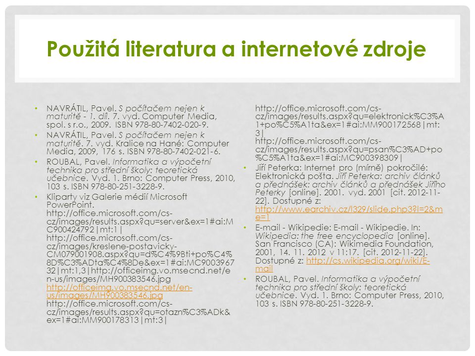 Použitá literatura a internetové zdroje