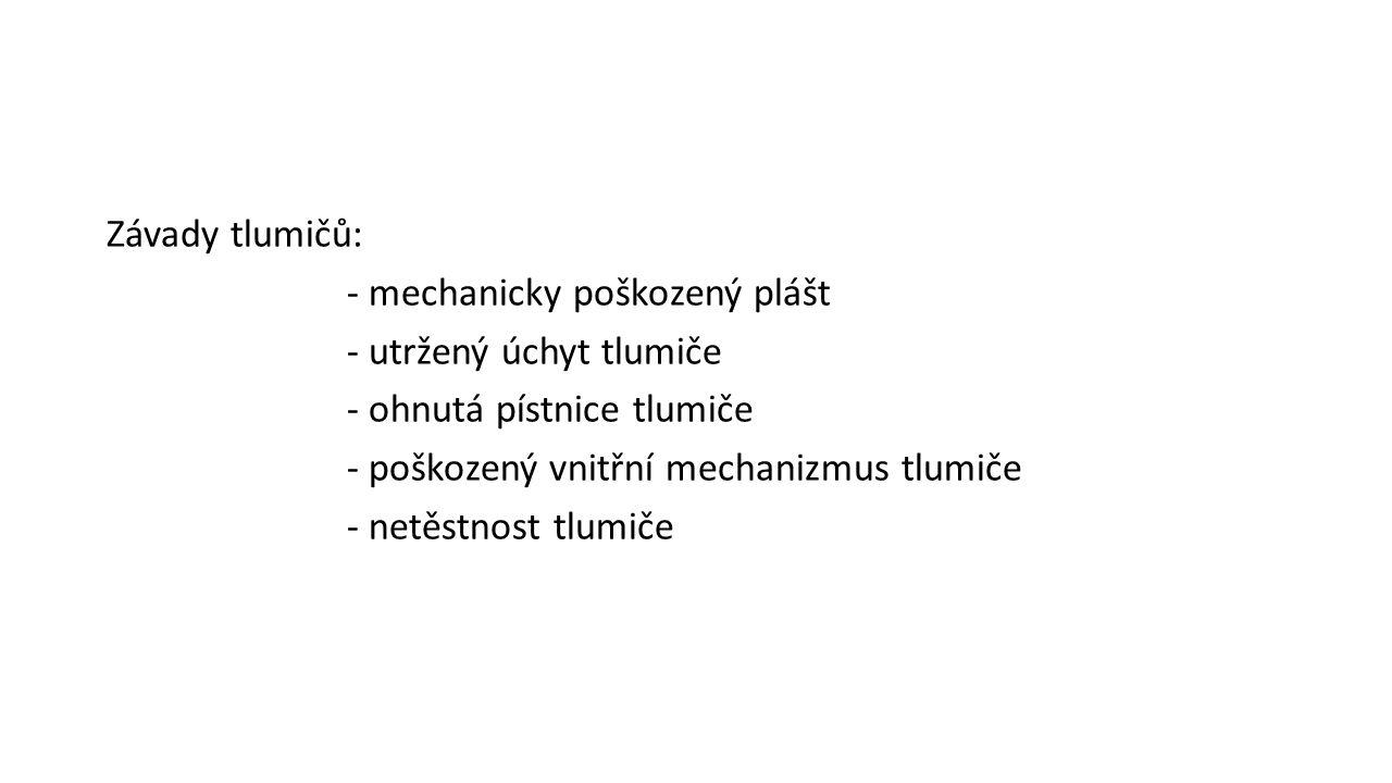 Závady tlumičů: - mechanicky poškozený plášt - utržený úchyt tlumiče - ohnutá pístnice tlumiče - poškozený vnitřní mechanizmus tlumiče - netěstnost tlumiče