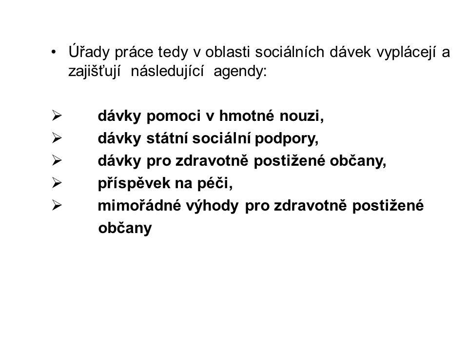 Úřady práce tedy v oblasti sociálních dávek vyplácejí a zajišťují následující agendy: