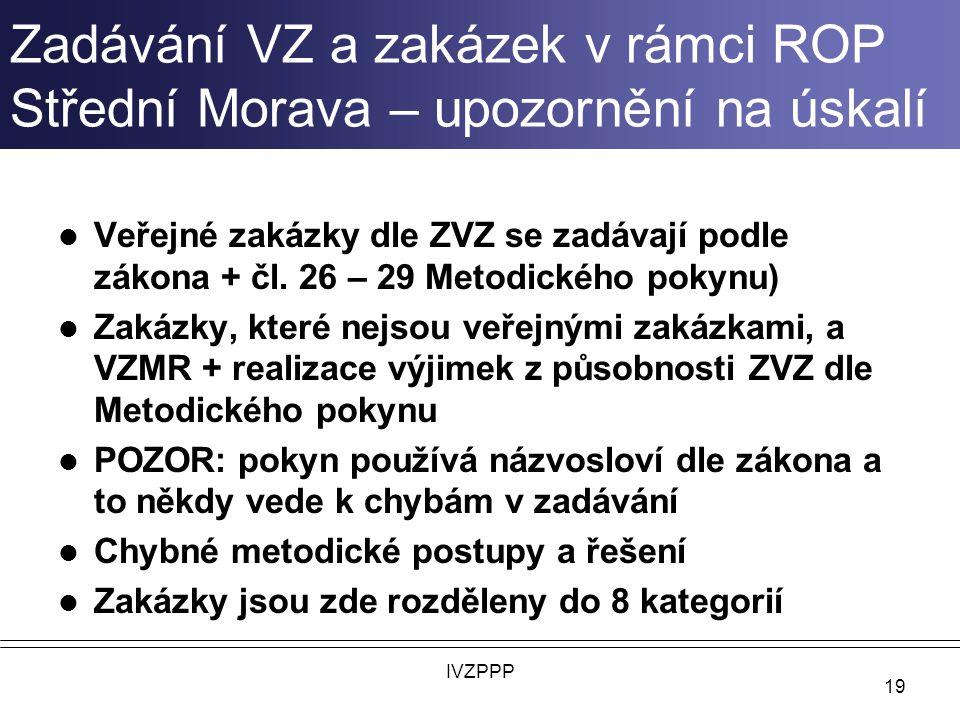 Zadávání VZ a zakázek v rámci ROP Střední Morava – upozornění na úskalí