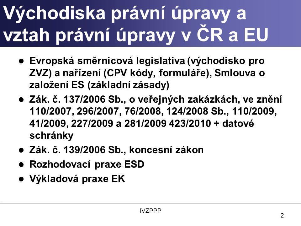 Východiska právní úpravy a vztah právní úpravy v ČR a EU