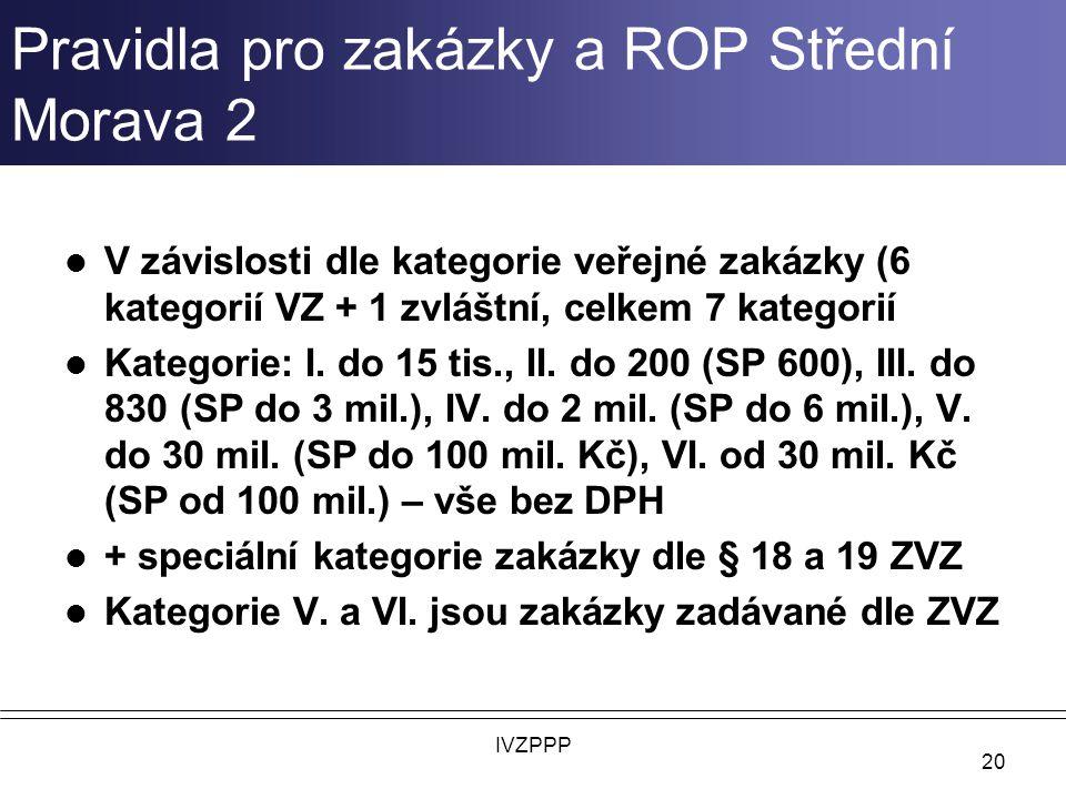 Pravidla pro zakázky a ROP Střední Morava 2