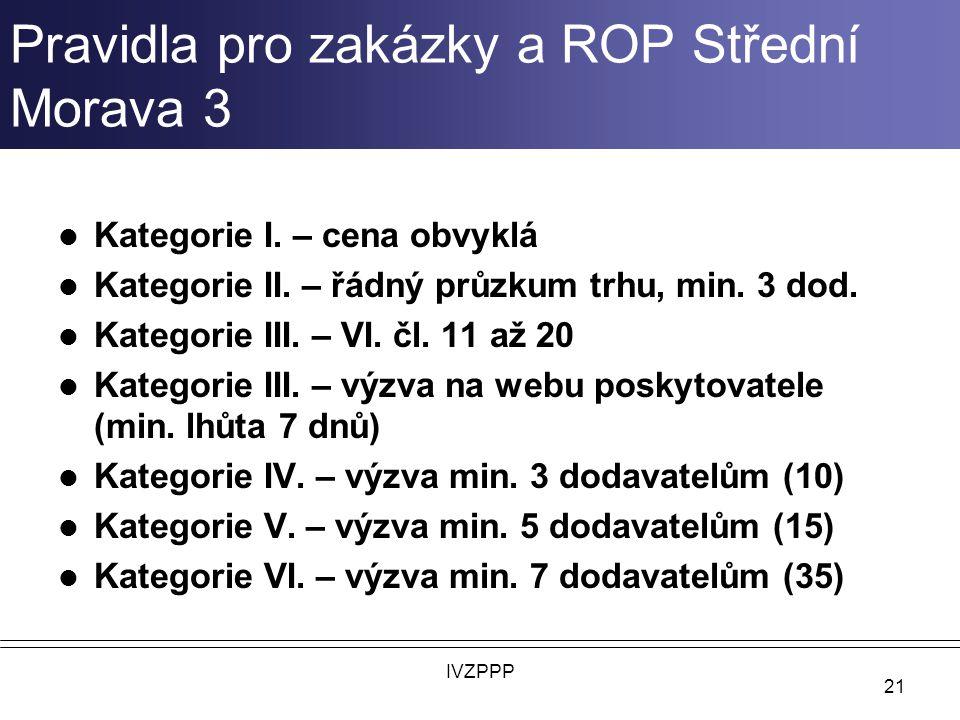 Pravidla pro zakázky a ROP Střední Morava 3
