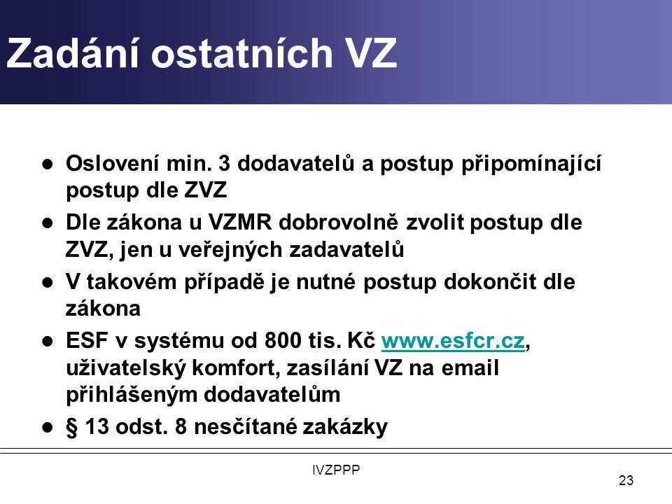 Zadání ostatních VZ Oslovení min. 3 dodavatelů a postup připomínající postup dle ZVZ.