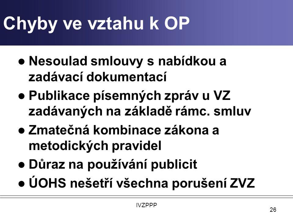 Chyby ve vztahu k OP Nesoulad smlouvy s nabídkou a zadávací dokumentací. Publikace písemných zpráv u VZ zadávaných na základě rámc. smluv.