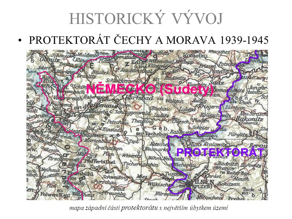 mapa západní části protektorátu s největším úbytkem území