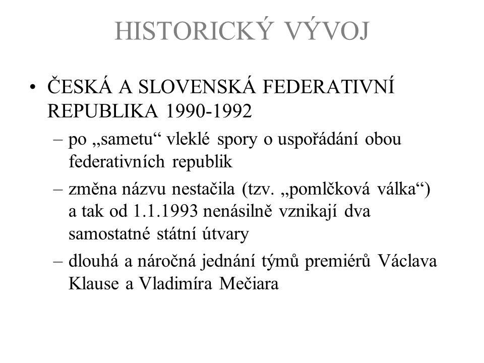 HISTORICKÝ VÝVOJ ČESKÁ A SLOVENSKÁ FEDERATIVNÍ REPUBLIKA 1990-1992