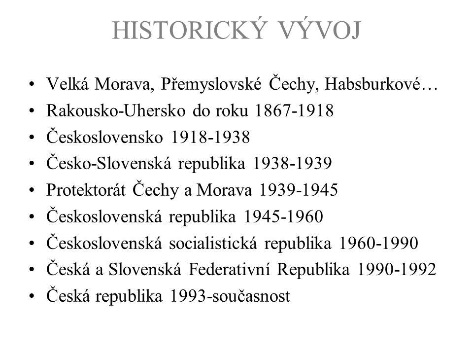 HISTORICKÝ VÝVOJ Velká Morava, Přemyslovské Čechy, Habsburkové…