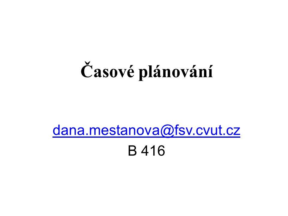 Časové plánování dana.mestanova@fsv.cvut.cz B 416 1