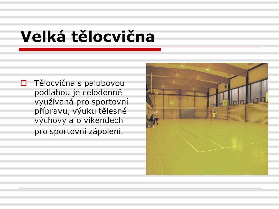Velká tělocvična Tělocvična s palubovou podlahou je celodenně využívaná pro sportovní přípravu, výuku tělesné výchovy a o víkendech.