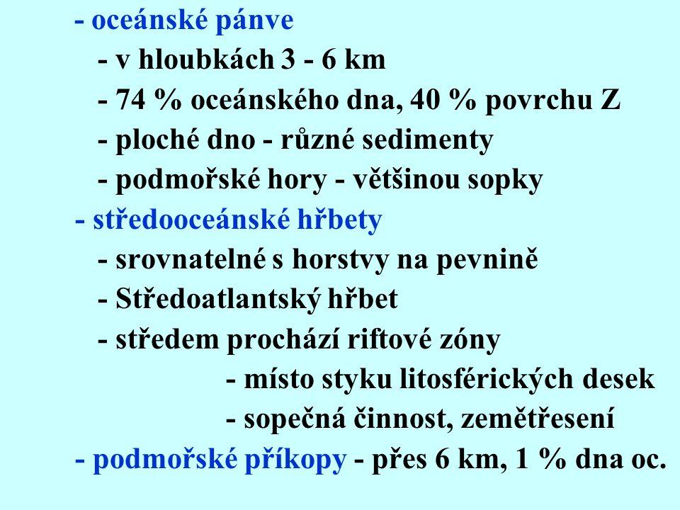 - oceánské pánve - v hloubkách 3 - 6 km. - 74 % oceánského dna, 40 % povrchu Z. - ploché dno - různé sedimenty.