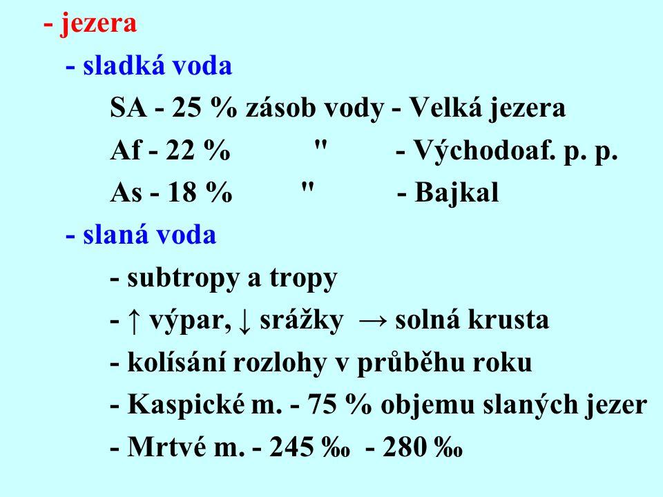 - jezera - sladká voda. SA - 25 % zásob vody - Velká jezera. Af - 22 % - Východoaf. p. p.