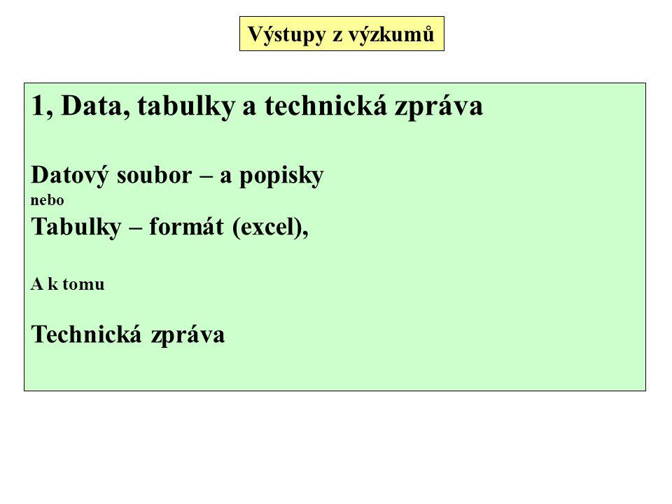 1, Data, tabulky a technická zpráva