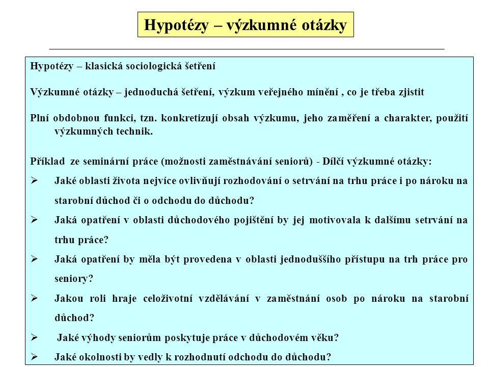 Hypotézy – výzkumné otázky