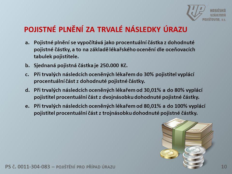 pojistné plnění za trvalé následky úrazu