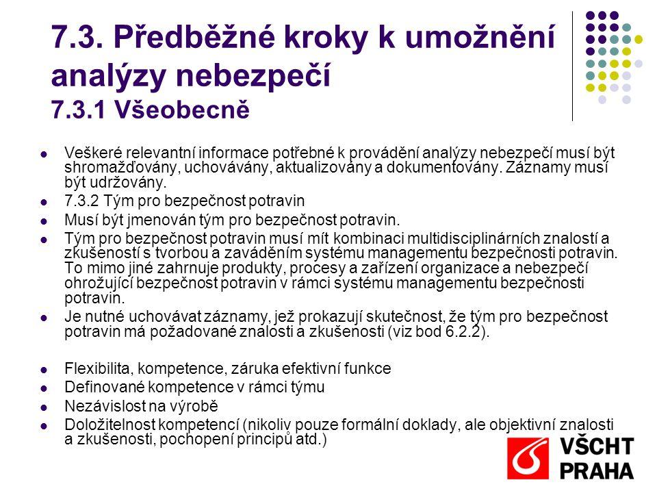 7.3. Předběžné kroky k umožnění analýzy nebezpečí 7.3.1 Všeobecně