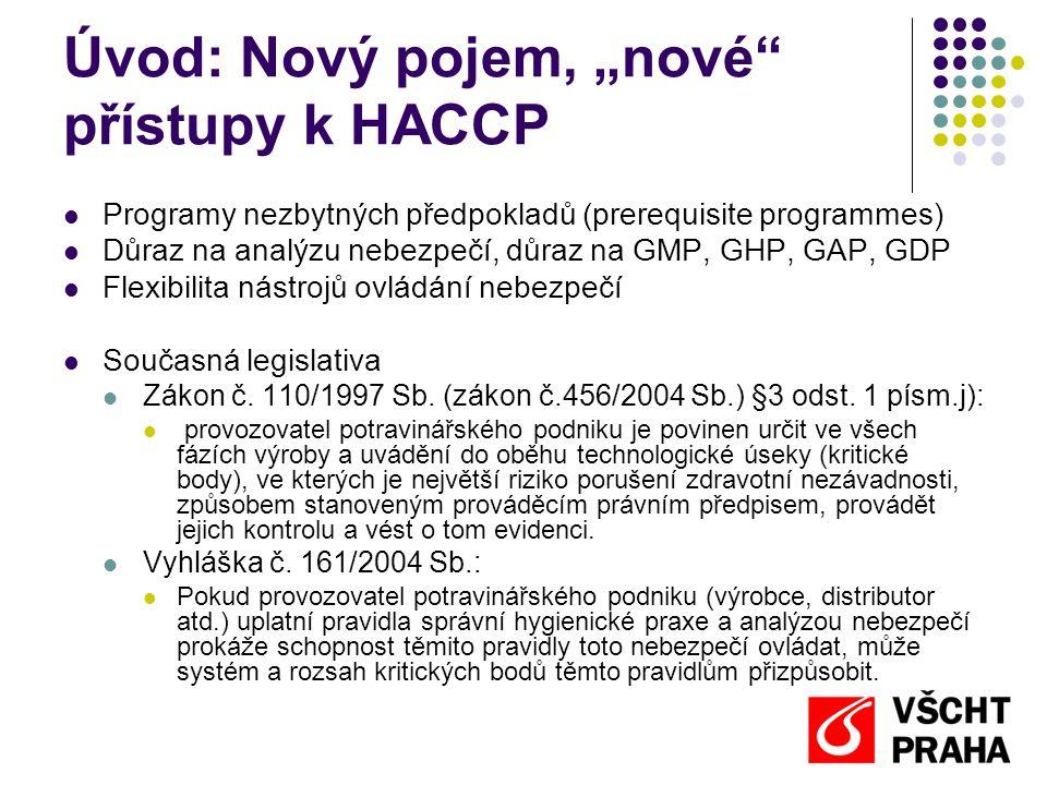 """Úvod: Nový pojem, """"nové přístupy k HACCP"""