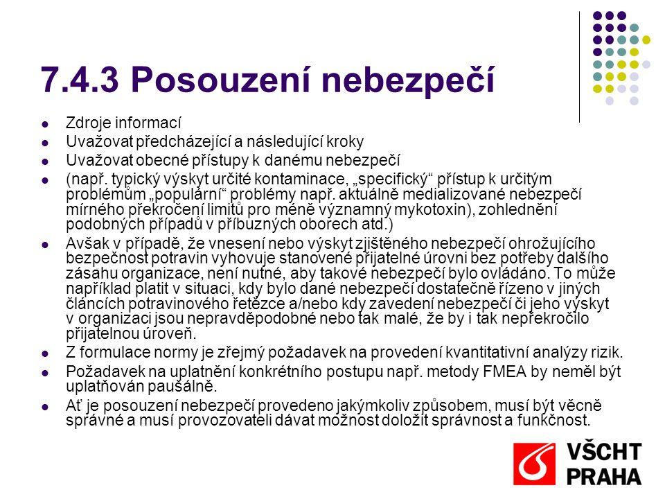 7.4.3 Posouzení nebezpečí Zdroje informací