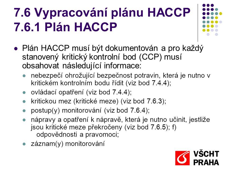 7.6 Vypracování plánu HACCP 7.6.1 Plán HACCP