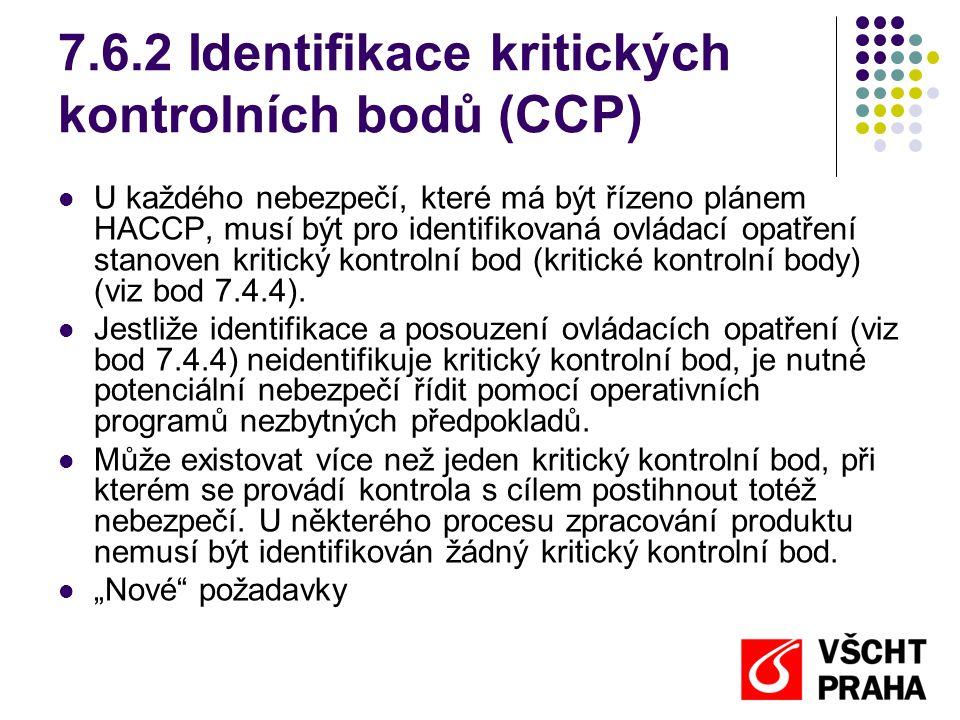 7.6.2 Identifikace kritických kontrolních bodů (CCP)