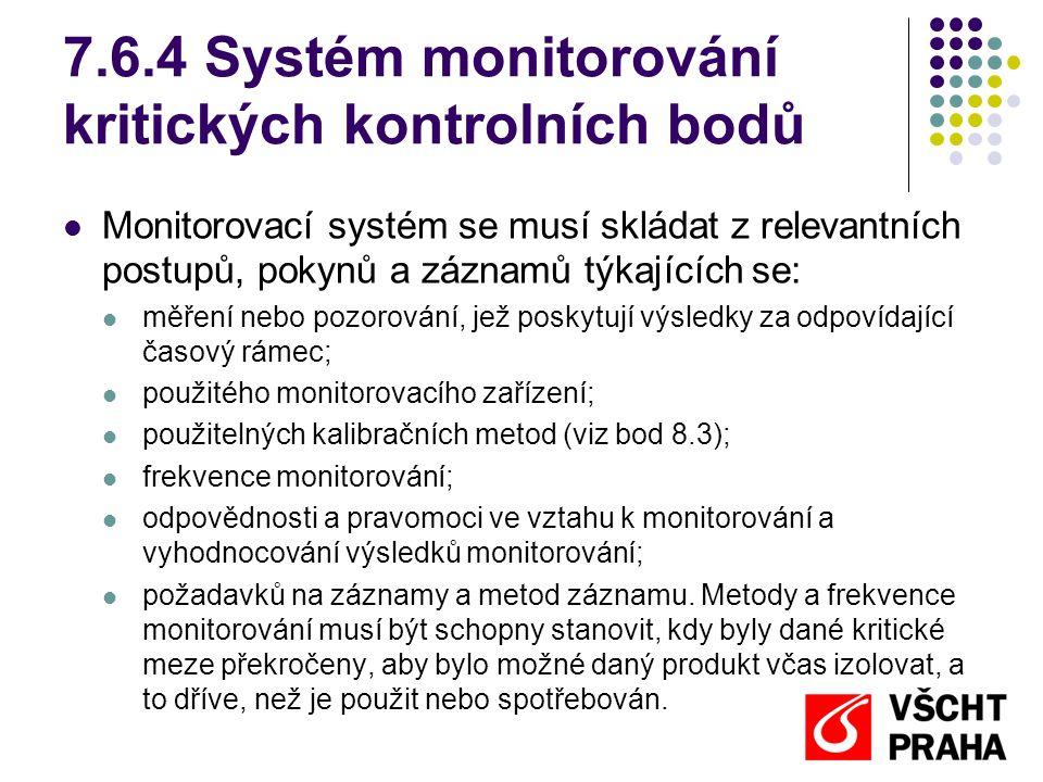 7.6.4 Systém monitorování kritických kontrolních bodů