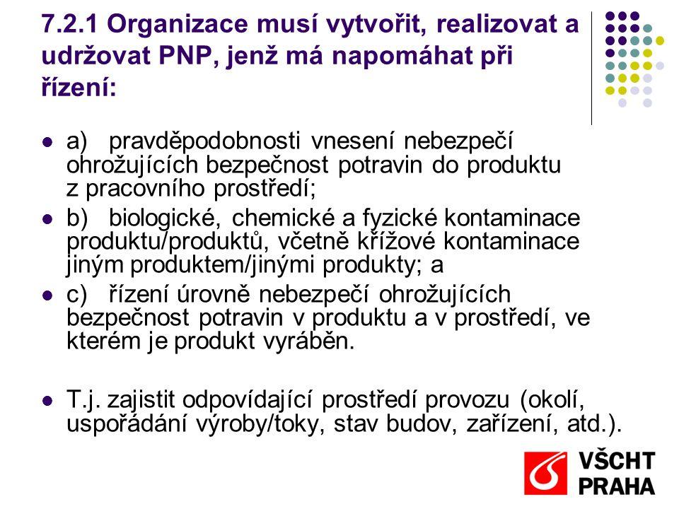 7.2.1 Organizace musí vytvořit, realizovat a udržovat PNP, jenž má napomáhat při řízení: