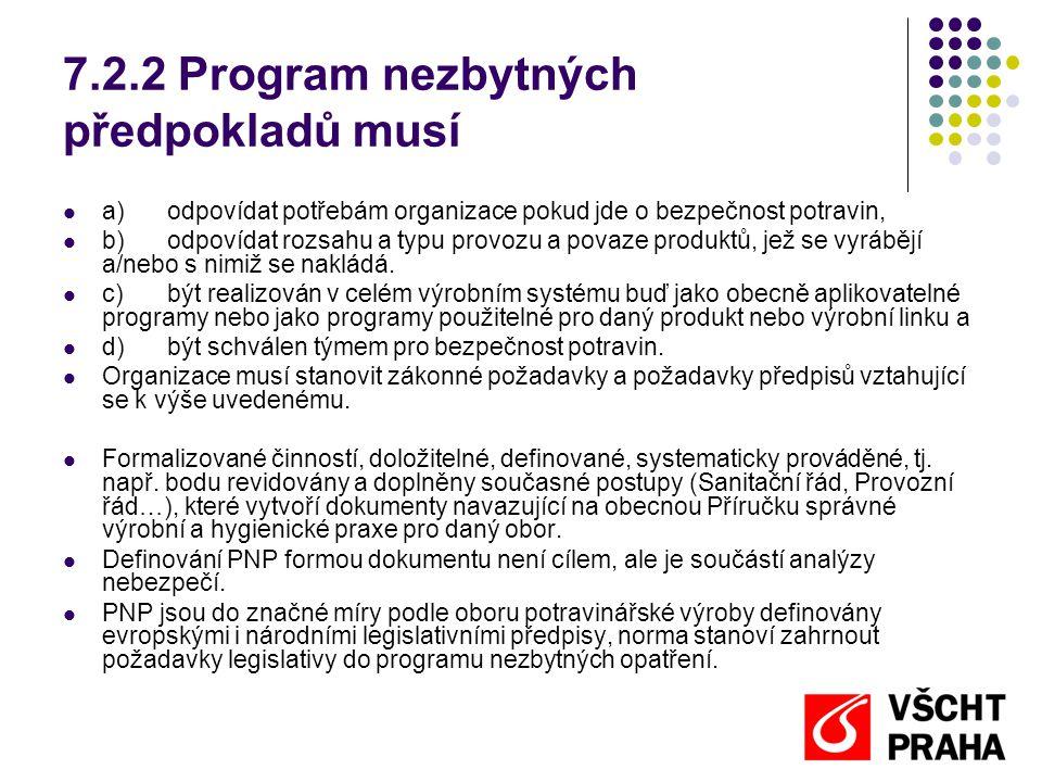 7.2.2 Program nezbytných předpokladů musí