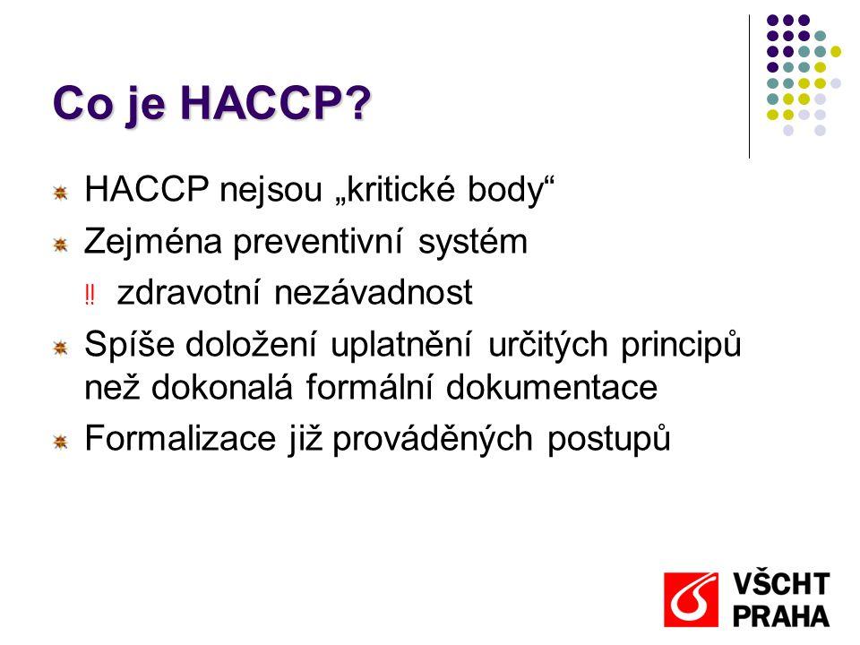 """Co je HACCP HACCP nejsou """"kritické body Zejména preventivní systém"""