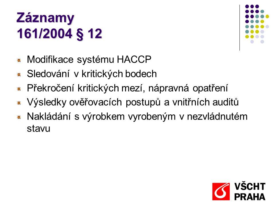 Záznamy 161/2004 § 12 Modifikace systému HACCP