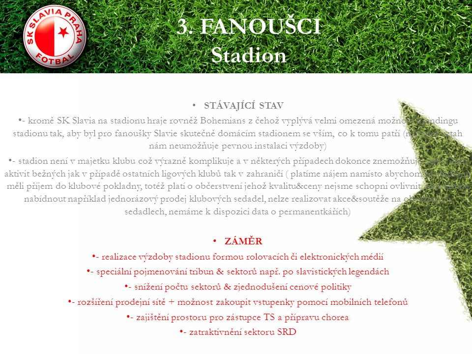 3. FANOUŠCI Stadion STÁVAJÍCÍ STAV