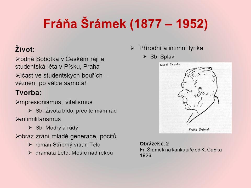 Fráňa Šrámek (1877 – 1952) Život: Tvorba: Přírodní a intimní lyrika