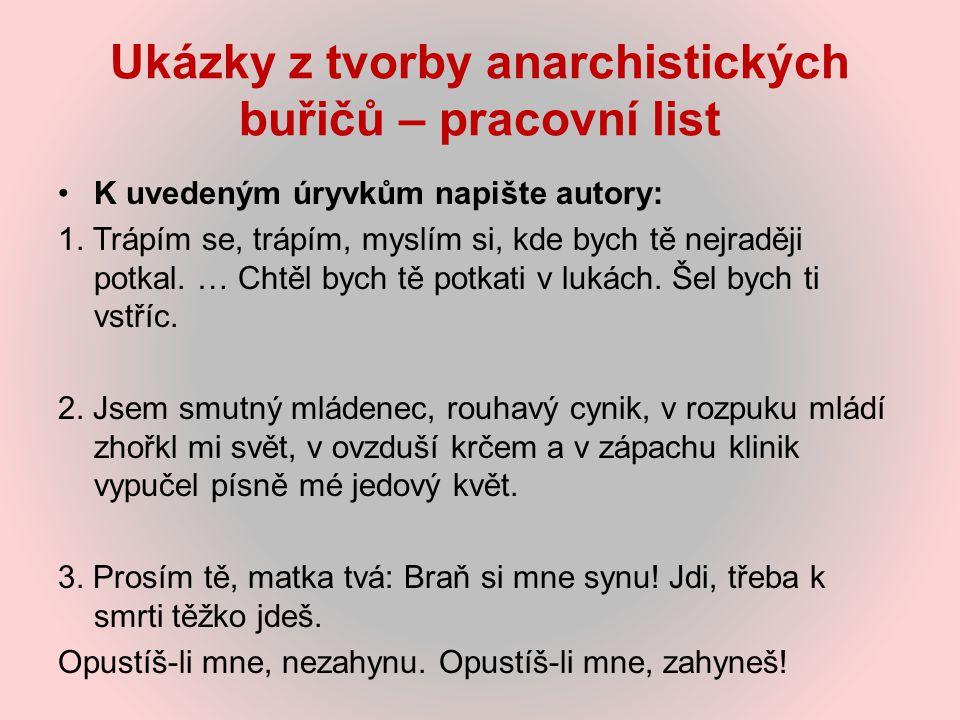 Ukázky z tvorby anarchistických buřičů – pracovní list