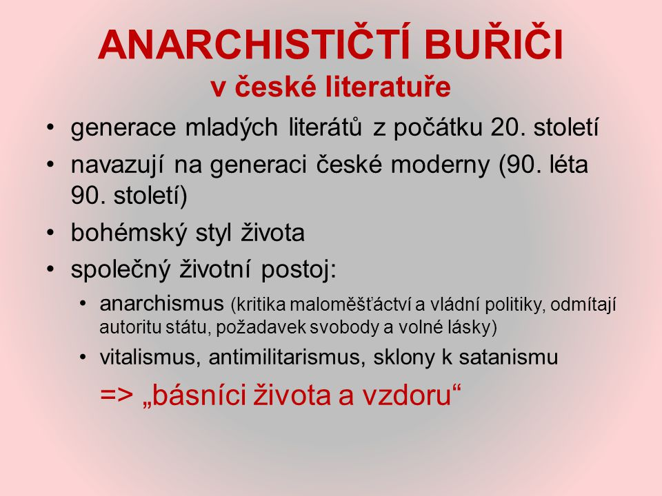 ANARCHISTIČTÍ BUŘIČI v české literatuře