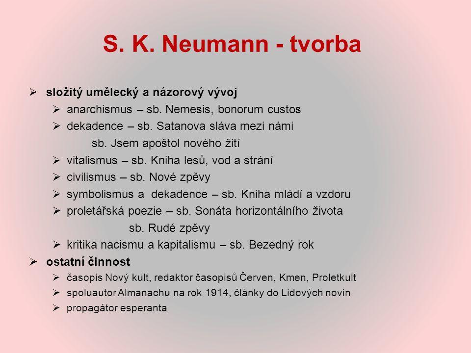 S. K. Neumann - tvorba složitý umělecký a názorový vývoj