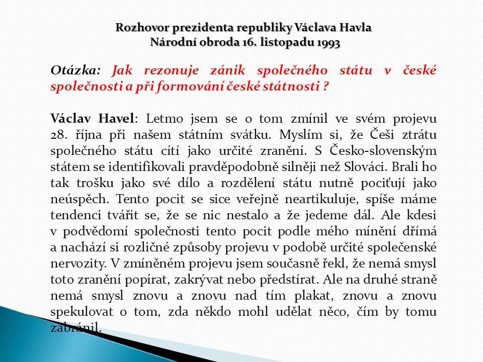 Rozhovor prezidenta republiky Václava Havla