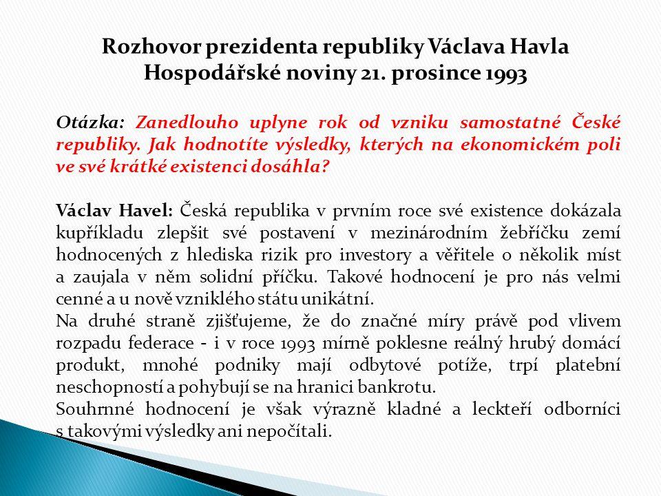 Rozhovor prezidenta republiky Václava Havla Hospodářské noviny 21