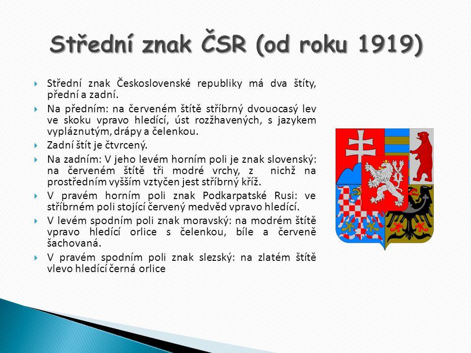 Střední znak ČSR (od roku 1919)