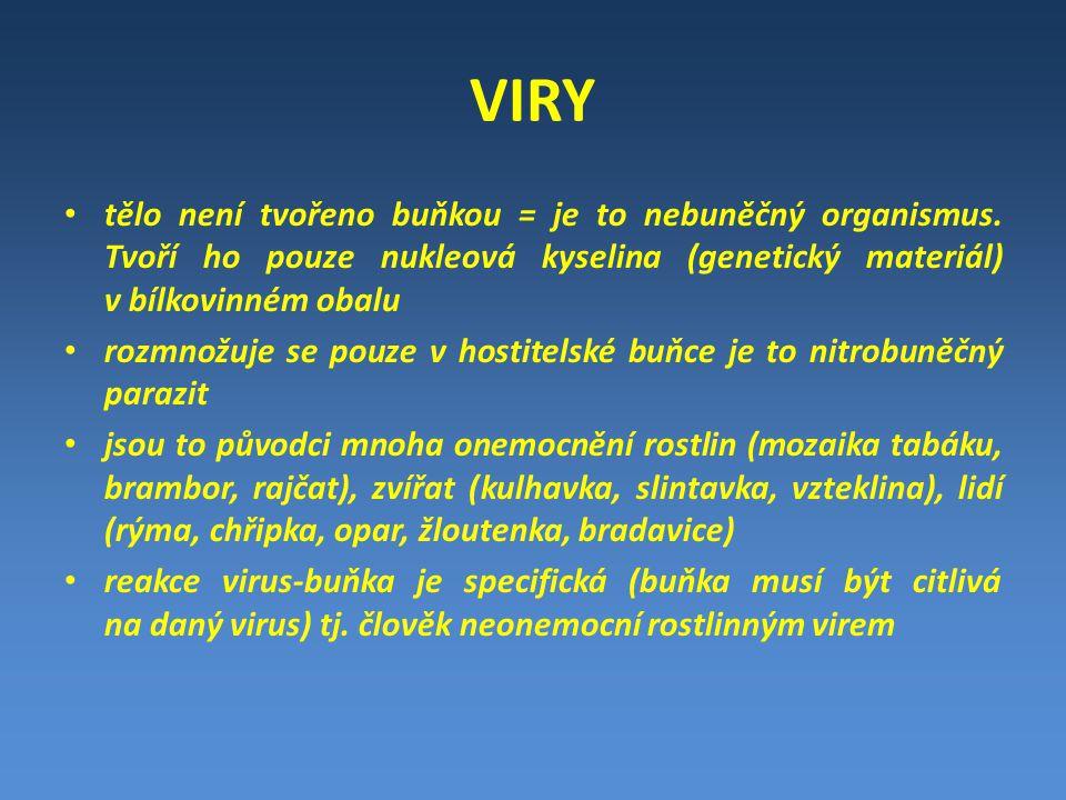 VIRY tělo není tvořeno buňkou = je to nebuněčný organismus. Tvoří ho pouze nukleová kyselina (genetický materiál) v bílkovinném obalu.