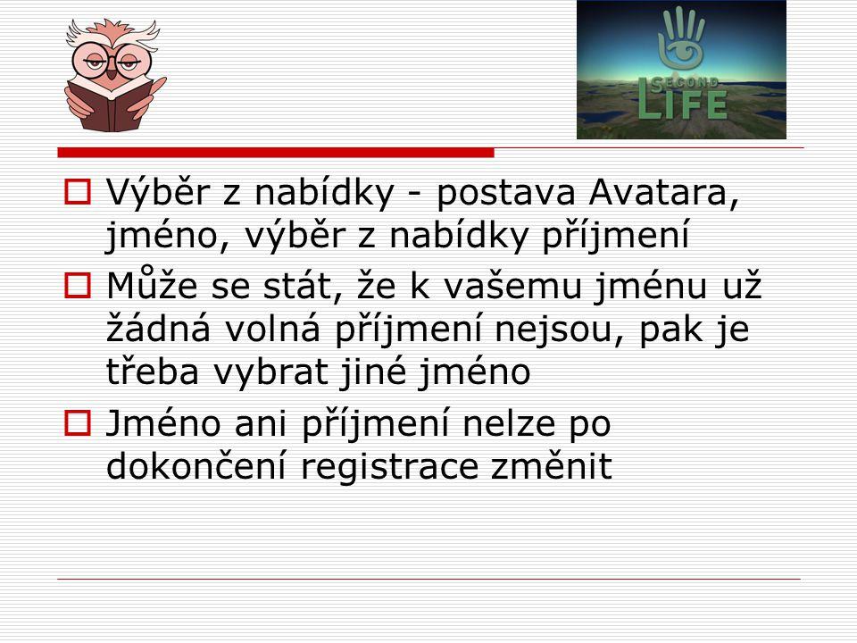 Výběr z nabídky - postava Avatara, jméno, výběr z nabídky příjmení