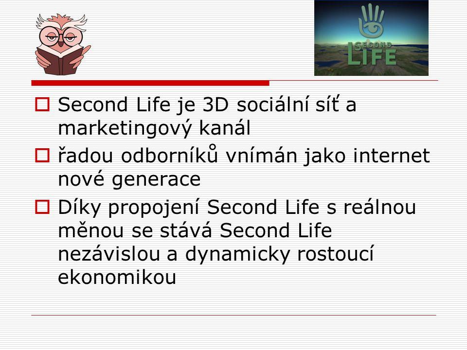 Second Life je 3D sociální síť a marketingový kanál