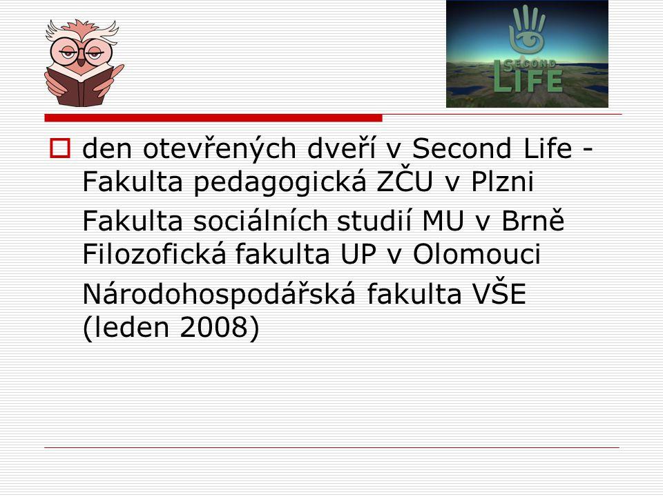den otevřených dveří v Second Life - Fakulta pedagogická ZČU v Plzni