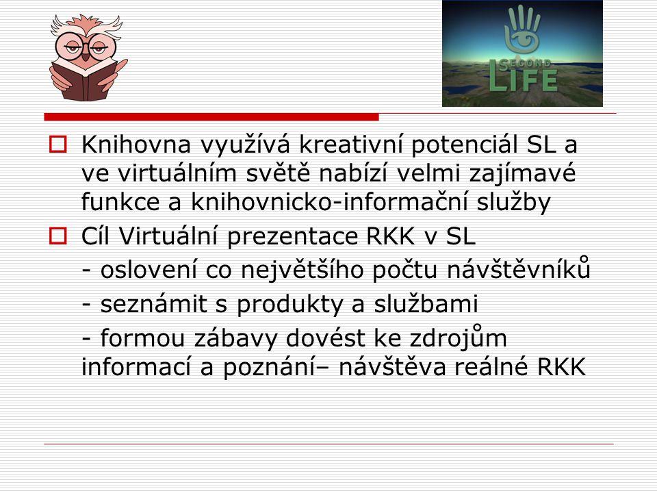 Knihovna využívá kreativní potenciál SL a ve virtuálním světě nabízí velmi zajímavé funkce a knihovnicko-informační služby
